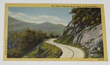 VINTAGE POSTCARD ~ SCENIC HIGHWAY IN THE HEART OF THE MOUNTAINS - UNUSED - LINEN