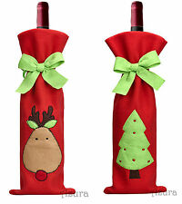 2pcs Christmas Tree Reindeer Deer Xmas Wine Bottle Candy Gift Bag Decoration