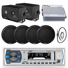 "White Pyle USB Bluetooth Radio, 6.5"" and 3.5"" Speakers, Marine 400W Amp, Antenna"