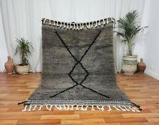 "Moroccan Handmade Beni Ourain Rug 4'3""x7'7 Berber Wool Gray Area Rug Shag carpet"