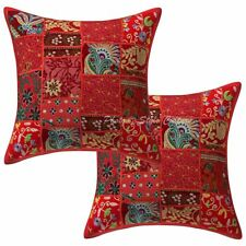 Indian Pillow Cases Vintage Patchwork 16 x 16 Indian 2 Pc Floral Cushion Cover
