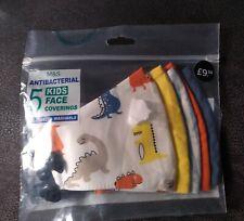 M & S 5 Pack Reusable & Adjustable Kids Face Coverings. Antibacterial RRP £9.50