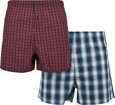 Urban Classics Unterhose Woven Plaid Boxer Shorts 2-Pack Redcheck+Bluecheck