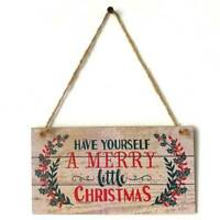 Merry Christmas Door Wall Hanging Plaque Wooden Sign Xmas Home Garden Decor@97k