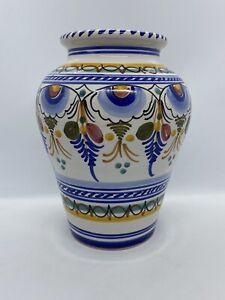 """Spanish Majolica Classica Vase - 8"""" Tall Spain, ceramic, pottery"""