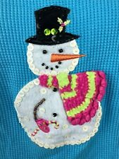 Quacker Factory Turquoise T-Shirt Snowman Thermal Tee Sz L Sequins Beads Winter