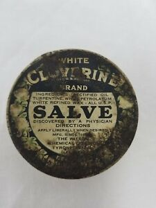 Vintage White Cloverine Brand Salve Price 25 Cents #7938 Advertising Medicine!!