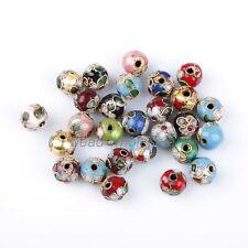 100pcs/Lot Mixed Round Cloisonne Bead Charms Fit DIY Bracelet 8mm