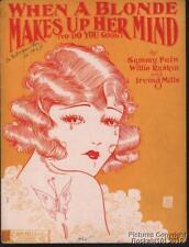 1925 Fain, Raskin & Mills Jazz Jazz Sheet Music (When a Blonde Makes Up Her Mind