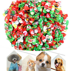 50pcs Christmas Dog Cat Hair Bows Rubber Band Xmas Pet Grooming Topknot Bow