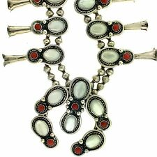 Native American Sterling Silver Mother of Pearl Coral Squash Blossom Set