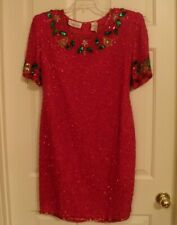 Vintage Laurence Kazar Embellished Beaded Red Holiday Christmas Dress Size L New