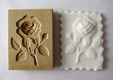 VINTAGE GERMAN WOODEN Springerle Butter Clay Wax Cookie Stamp Press Mold - ROSE