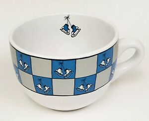Ursula Dodge Ice Skating Skates Blue Silver Holiday Large Coffee Soup Mug