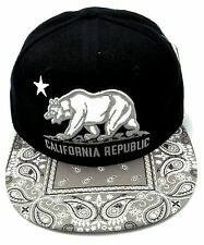 CALIFORNIA REPUBLIC Snapback Cap Hat CA CALI Black Gray Paisley Visor Hats NWT