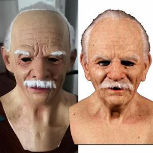 Realistic Old Man Headgear Latex Full Face Mask Halloween Cosplay Fancy Dress