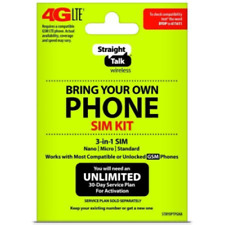 Straight Talk Bring Your Own Phone Gsm 3-in-1 Sim Card Kit 4G Lte Activation Kit