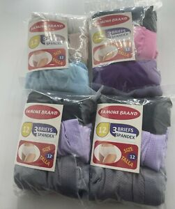 FRUIT OF THE LOOM 12 PK  BRIEFS WOMEN IN FAMOUS BRAND BAG MIX FABRIC COLORS