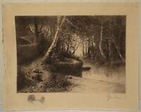 "LANDSCAPE WOODS ETCHING BY ADOLPHE APPIAN UNFRAMED 14 3/4"" X 18 1/2"""