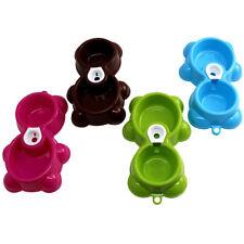 Bear Plastic Cat Dog Double Bowls Feeding Drink Automatic Water Dispenser Feeder