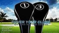 COMPLETE # 1 3 WOODS NEW SET HEAD COVERS GOLF CLUB DRIVERS BLACK FULL HEADCOVER