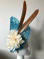 NEW turquoise basket weave on a base with cream flower and brown feathers!