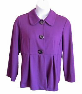 Purple Knit Jacket Size XL 14 16 Notations Seamed Top Big Buttons Layer Casual