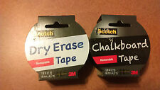 NEW Scotch Chalkboard Tape, Black and Dry Erase Tape White 1.88-Inch x 5-Yard yd