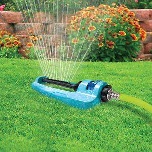 Oscillating Lawn Sprinkler Metal Base Adjustable Spray 3600 Sq Ft Leak Resistant