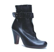 CHIE MIHARA SHOES BLACK LEATHER ANKLE WRAP BOOTIES KEYHOLE BELTED BOOTS $498 8