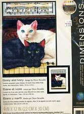 NEW  BLACK AND WHITE  KITTENS CROSS STITCH KIT BY DREW STROUBLE