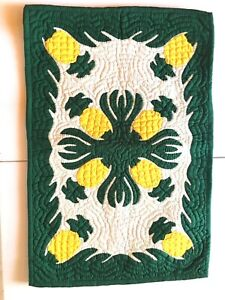 "Hawaiian handmade quilt floor mat 30""/20"" pineapple brand new w/ free shipping"