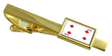 Diamond Playing Card Number 4 Gold-Tone Tie Clip Select Gift Pouch