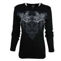 Ladies Harley Davidson Sculpture Graphic Cotton Tops L/S T Shirts 53