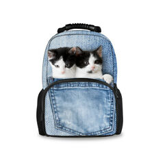 Denim Cats School Backpack Bag for Teenagers Women Travel Rucksack Large