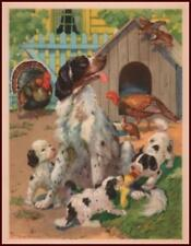 English Setter & Puppies, Turkeys in the Yard by George Trimmer, vintage 1939