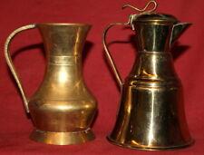Vintage set 2 brass pitchers