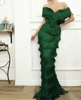 2019 Arabic Off Shoulder Tassel Mermaid Evening Dresses Formal Gowns Party Prom