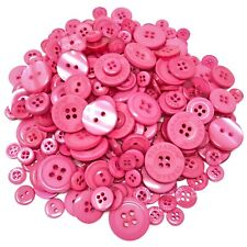 Fuchsia Pink 100 Gram Mix Acrylic & Resin Buttons For Cardmaking Embellishments