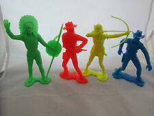 """4 Vintage LARGE SCALE Cowboys Indians Plastic Toy Soldiers Marx? Figures 6"""" Tall"""