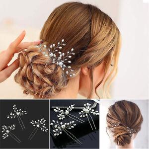 Wedding Vintage Flower Pearls Crystal Bridal Bridesmaid Headdress Hair Clip Pins