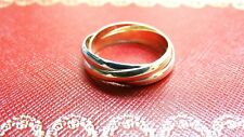Authentic Cartier Trinity 3 Color Yellow White & Rose 18K Gold Ring Size 10 9.3G
