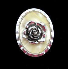 ROSE SCARF CLIP Vintage Western Germany Cream Background Oval Shape Silvertone