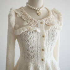 LIZ LISA Fluffy Peplum 3D Flower Sweater Cardigan Dress Romantic Hime Lolita 109