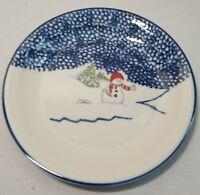 "Thomson Pottery SNOWMAN 4X   7 1/2"" Salad Dessert Plates Christmas Dinnerware"