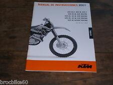 MANUAL DE INSTRUCCIONES KTM 250 400 450 525 XC-F EXC-F XC-W DESERT RACING 2007