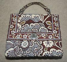 Vera Bradley Julia Purse Tote Handbag, Slate Blooms, Turn Key Latch, Brown Blue