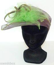 CHAPEAU taille M de cérémonie PILL BOX bandeau femme violet vert made in France