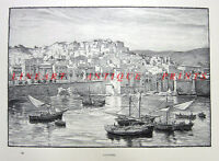 MEDITERRANEAN ALGIERS ALGERIA HARBOR FISHING BOATS ~ 1890 Art Print Engraving