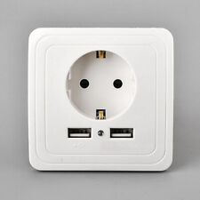 16A Dual USB Ports Wall Charger Power Adapter Socket Outlet Panel EU Plug